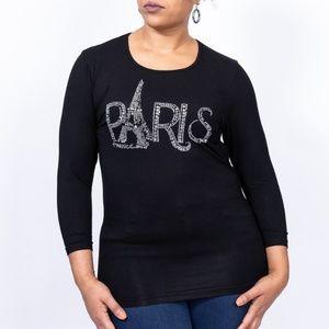 Women's Paris rhinestone graphic tee, size S